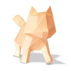 Trophée chat en papier à construire en 3D abricot