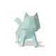 Trophée chat en papier  à construire en 3D bleu