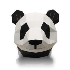 Trophée tête de panda en papier imprimé, à construire en 3D