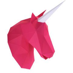 Trophée tête petite licorne rose en papier imprimé, à construire en 3D