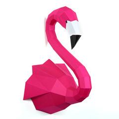 Trophée tête de flamant rose, en papier imprimé, à construire en 3D