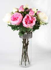 Lot de 3 branches de Pivoines roses artificielles/fleur + bouton 69cm