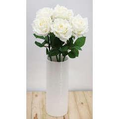 Lot de 5 tiges de Roses blanches / Fleurs 'toucher naturel' 50cm