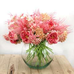 Bouquet champêtre artificiel de 36 tiges de fleurs roses 25 cm
