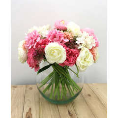 Bouquet champêtre artificiel de 36 tiges de fleurs blanches+roses 28cm