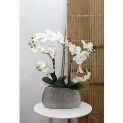 Orchidée blanche artificielle'toucher naturel'pot céramique H68cm