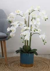 Orchidée géante artificielle 'toucher naturel' pot bleu/or 80 cm