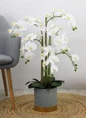 Orchidée géante artificielle 'toucher naturel' pot gris/or 80 cm