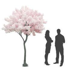 Arbre Géant Pommier artificiel en fleurs roses 16 branches H270cm