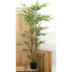 Bambou 3 troncs naturels + 336 feuilles artificielles H150 cm pot noir