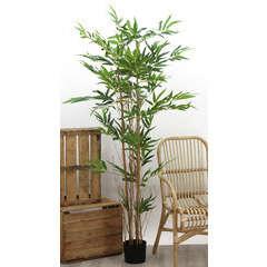 Bambou 3 troncs naturels + 480 feuilles artificielles H180 cm pot noir