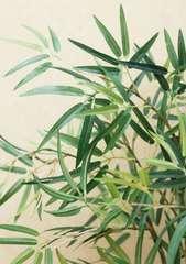 Bonsaï Bambou artificiel pot céramique ovale blanc 349 feuilles 47 cm