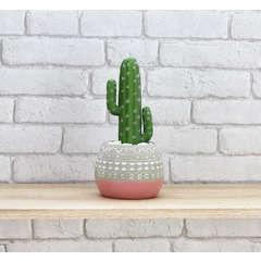 Cactus artificiel en pot mexicain ciment / rose H30 cm