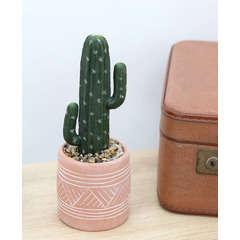 Cactus artificiel en pot éthnique en terracotta D10cmxH29cm