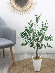 Ficus artificiel en pot céramique blanc 98 cm
