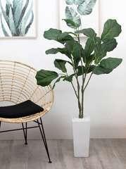 Ficus lyrata artificiel en pot céramique blanc 125 cm