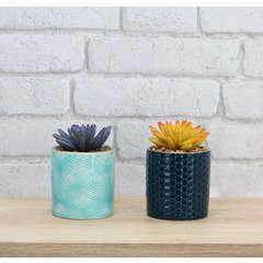 Lot de 2 Succulentes artificielles pots céramiques bleus + doré H11cm