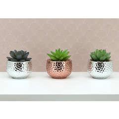 Lot de 3 succulentes artificielles pots céramiques argent/cuivre H8cm