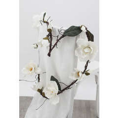 Guirlande de fleurs de Magnolias blanches artificielles Longueur 180cm