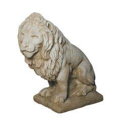Lion XGM regardant à gauche ton pierre, H.90 cm