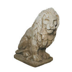 Lion XGM regardant à droite ton pierre, H.90 cm