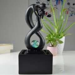 Fontaine d'Intérieur Moderne Amor Noir avec Eclairage Led