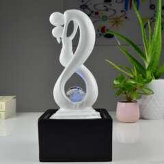 Fontaine d'Intérieur Moderne Amor Noir et Blanc avec Eclairage Led