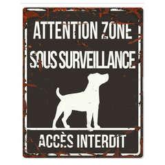 Plaque Attention au Chien avec Jack Russell Terrier - Noir