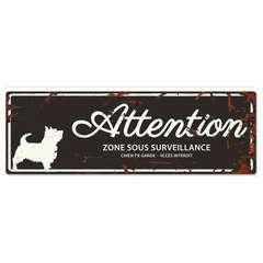Plaque Attention au Chien avec Terrier - Noir