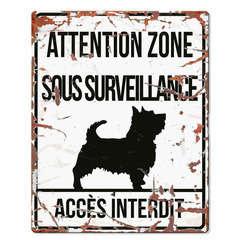 Plaque Attention au Chien avec Terrier - Blanc