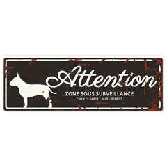 Plaque Attention au Chien avec Bull Terrier - Noir