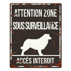 Plaque Attention au Chien avec Border Collie - Noir