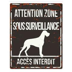 Plaque Attention au Chien avec Dogue Allemand - Noir