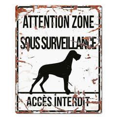 Plaque Attention au Chien avec Dogue Allemand - Blanc