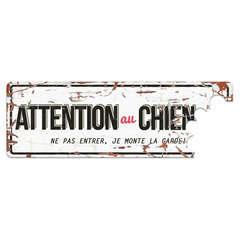 Plaque Attention au Chien Red - Blanc