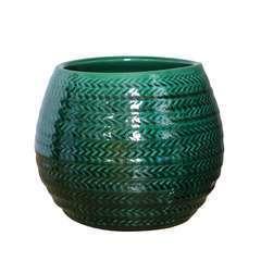 Pot Cancale chevron jade D.17 x H.17 cm