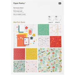 Bloc papier à motif Noël Nostalgic, 30 feuilles