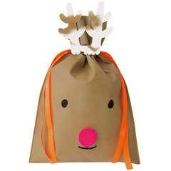 Noël sac cadeau grand renne brun foncé