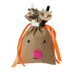 Noël sac cadeau  petit renne brun foncé