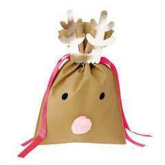 Noël sac cadeau petit renne brun claire