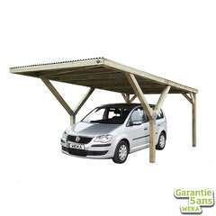Carport en Y 612 simple en pin avec toit en pvc - 306x606x250 cm