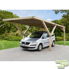 Carport en Y 612 simple en pin avec toit en acier - 306x606x250 cm