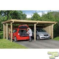 Carport double 618 T.1 en pin, toit plat 603x512x233cm poteaux 12x12cm