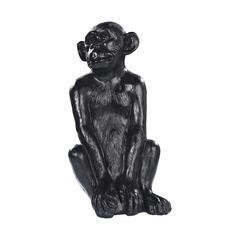 Singe ciré noir, H.55  cm