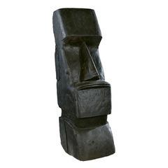 Statue moaï H.80 cm ciré noir