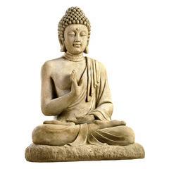 Bouddha assis XGM ton patiné, H. 78 cm