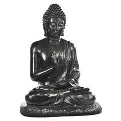 Bouddha assis XGM ton ciré noir, H. 80 cm