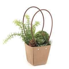 Composition de succulentes artificielles dans panier en kraft 33 cm