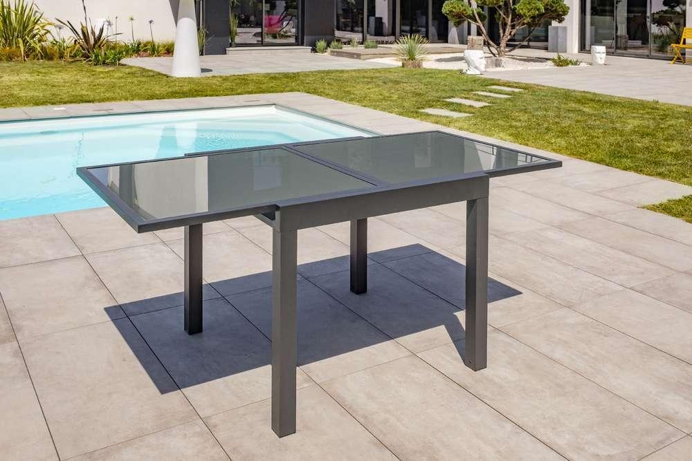 Table Tolede 90 180x90 Cm Avec Rallonge Integree En Aluminium Et