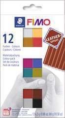 Coffret Fimo Effect cuir 12 demi blocs 12x25 g